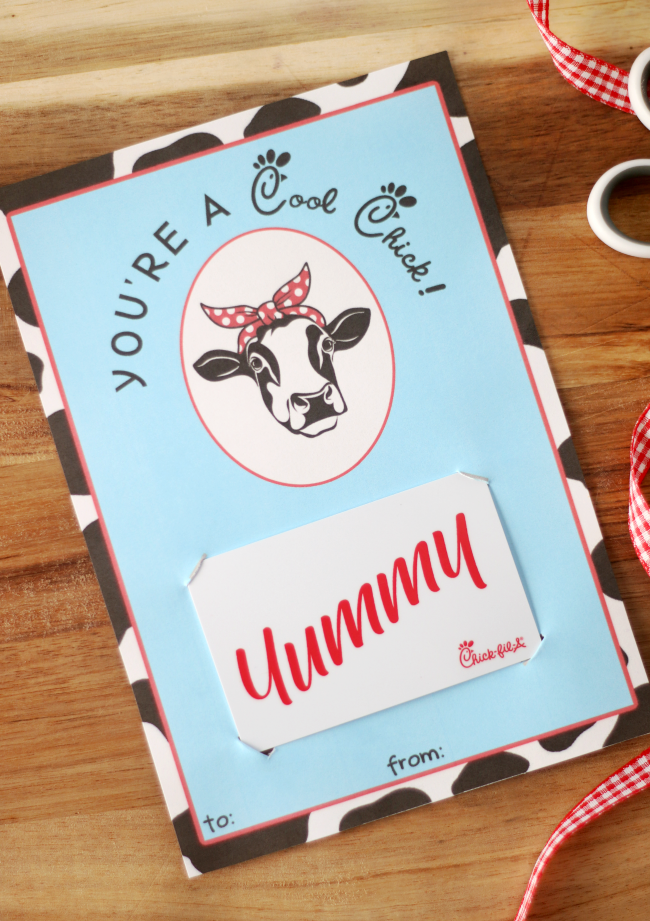 chick-fil-a gift card printable on table