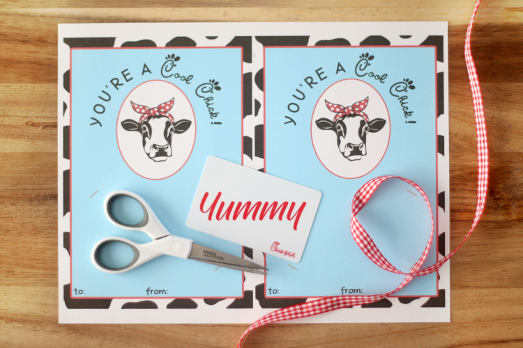 chick-fil-a printable on table with scissors, ribbon and gift card