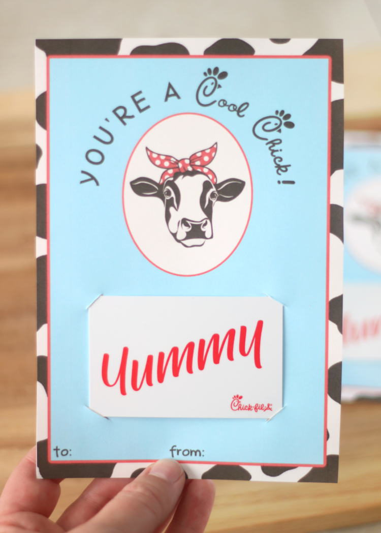 chick-fil-a gift card holder with gift card attached