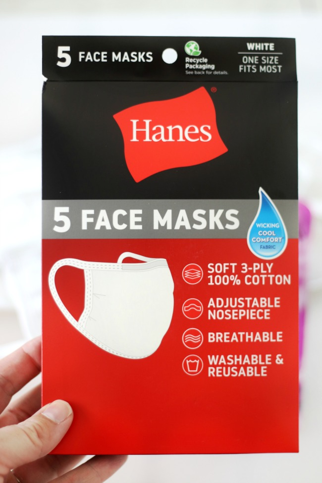 package of Hanes brand white face masks