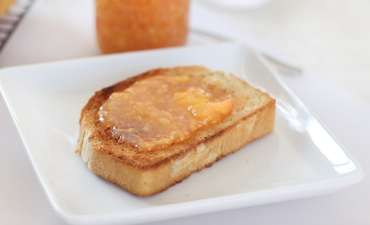 slice of toast with peach freezer jam
