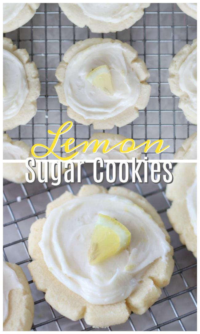 lemon sugar cookies on cooling rack