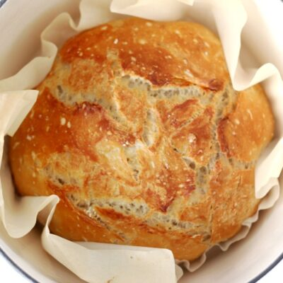 baked crusty no knead bread in dutch oven