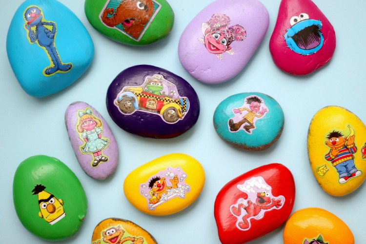 collection of painted sesame street rocks