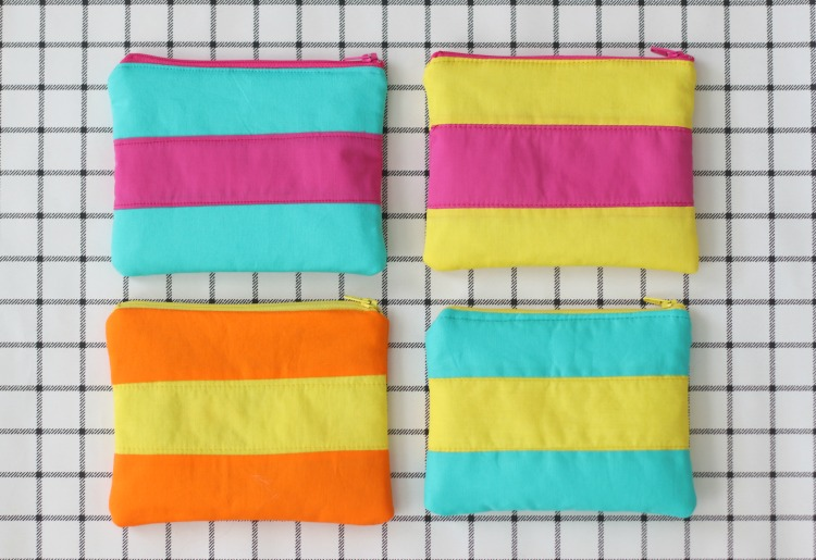 four bags made from color block cosmetic bag sewing tutorial