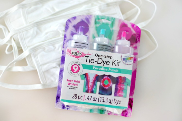 tie dye kit and plain white masks