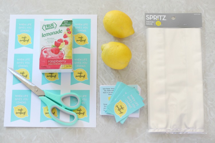 printable tags on table with clear bags, lemons, and lemonade packets