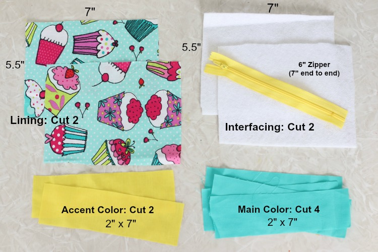 fabric and lining cut into pieces for cosmetic bag