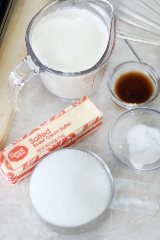 heavy cream, buter, vanilla, baking soda and sugar in measuring cups