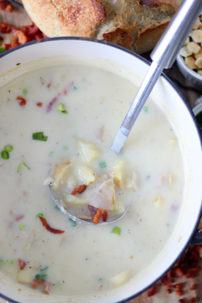 large pot with 30 minute clam chowder and ladle