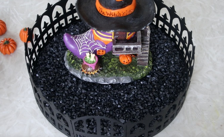 black gravel on tray