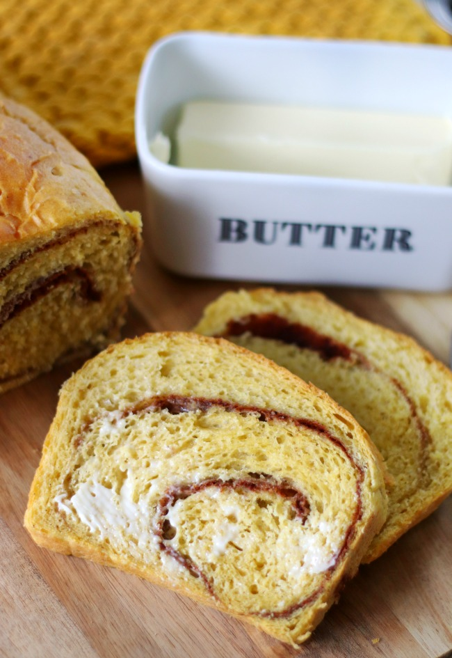 buttered pumpkin cinnamon swirl bread