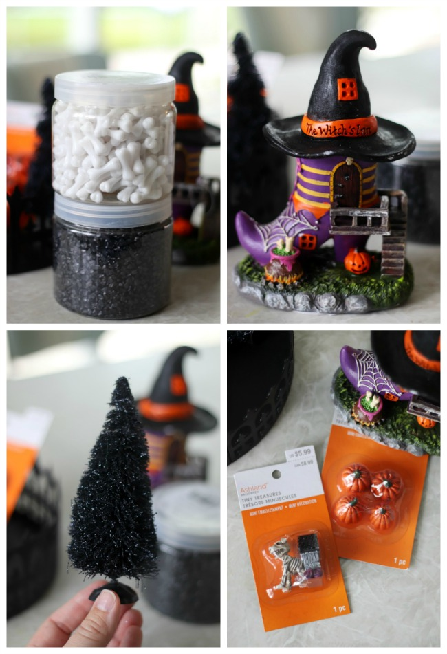collage of halloween fairy garden figures and fillers