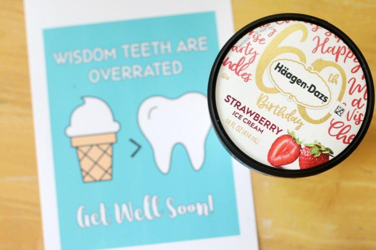 carton of ice cream next to wisdom teeth card