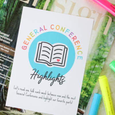 general conference highlights handout on top of copy of ensign magazine