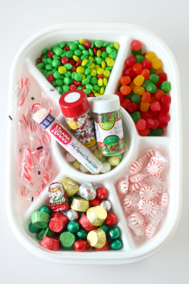 serving tray with holiday candy