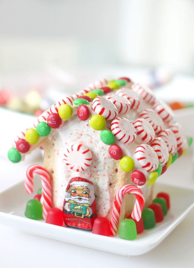 pop tart gingerbread house decorated with candy