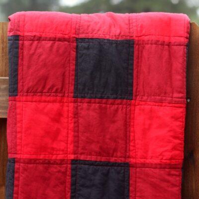 folded buffalo check quilt