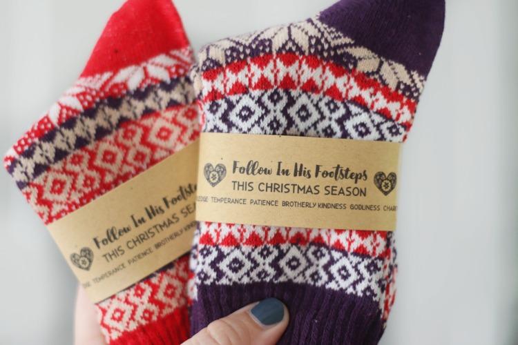 two pairs of nordic christmas socks