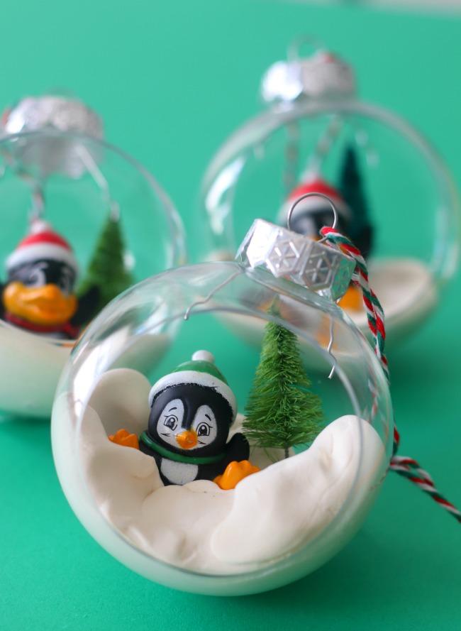 penguin terrarium ornament