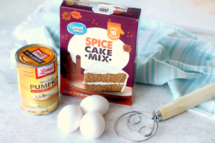 can of pumpkin puree with spice cake mix and 3 eggs