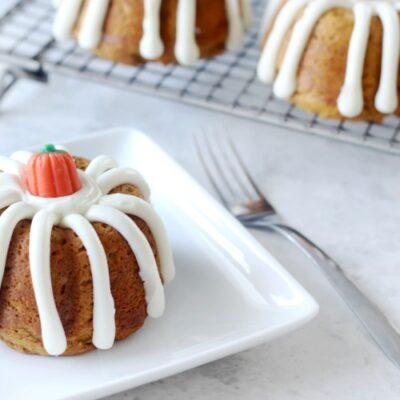 mini pumpkin bundt cake on white plate