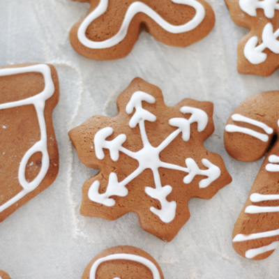 iced snowflake gingerbread cookie