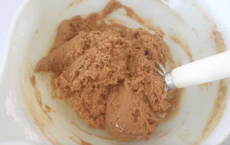 gingerbread cookie dough in mixing bowl