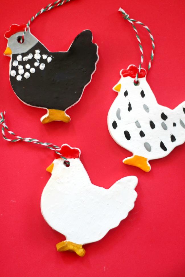 3 chicken ornaments