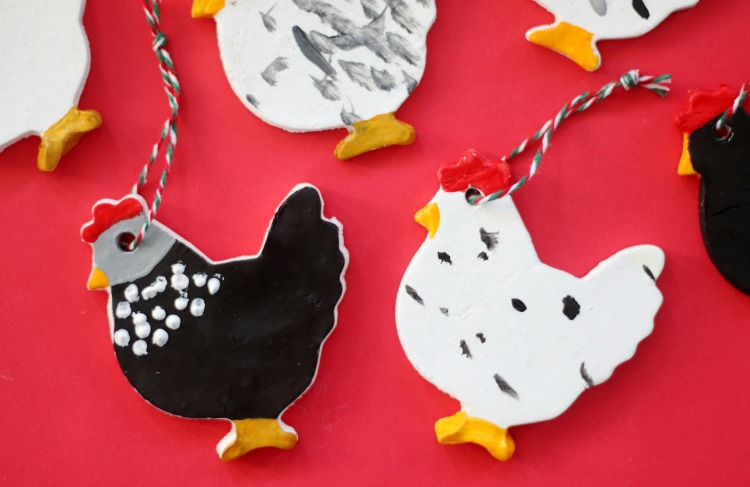 chicken ornaments with bakers twine for hanging