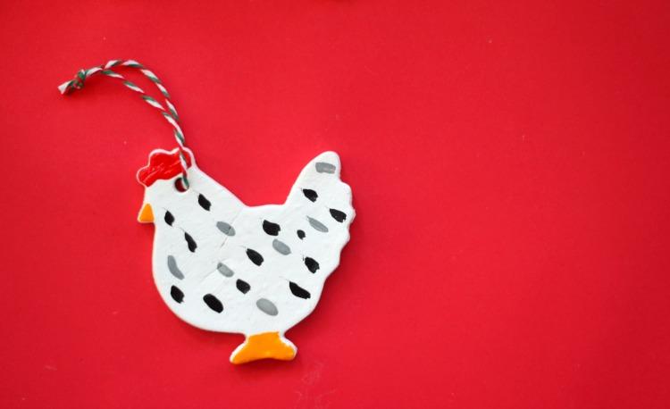 black and white chicken ornament