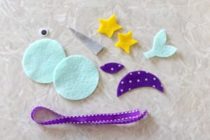 felt pattern pieces cut out to make animal bookmark
