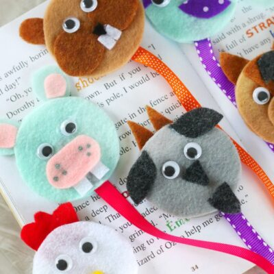 chicken, hippo, goat, chipmunk, narwhal and horse felt bookmarks