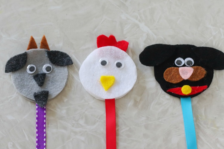 goat, chicken and dog bookmark