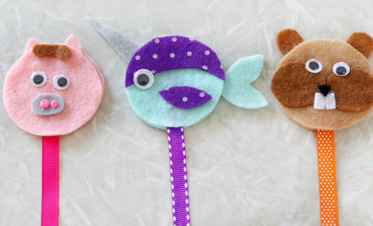 pig, narwhal and chipmunk bookmarks