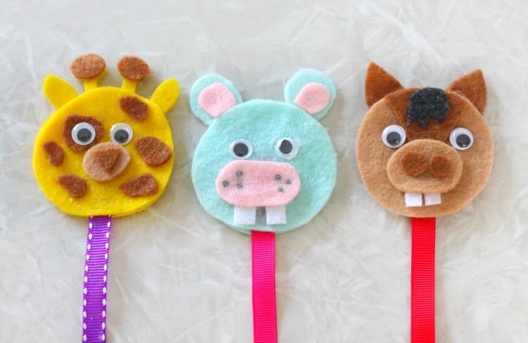 giraffe, hippo and horse bookmark