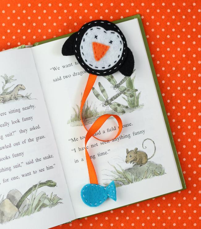 felt penguin bookmark