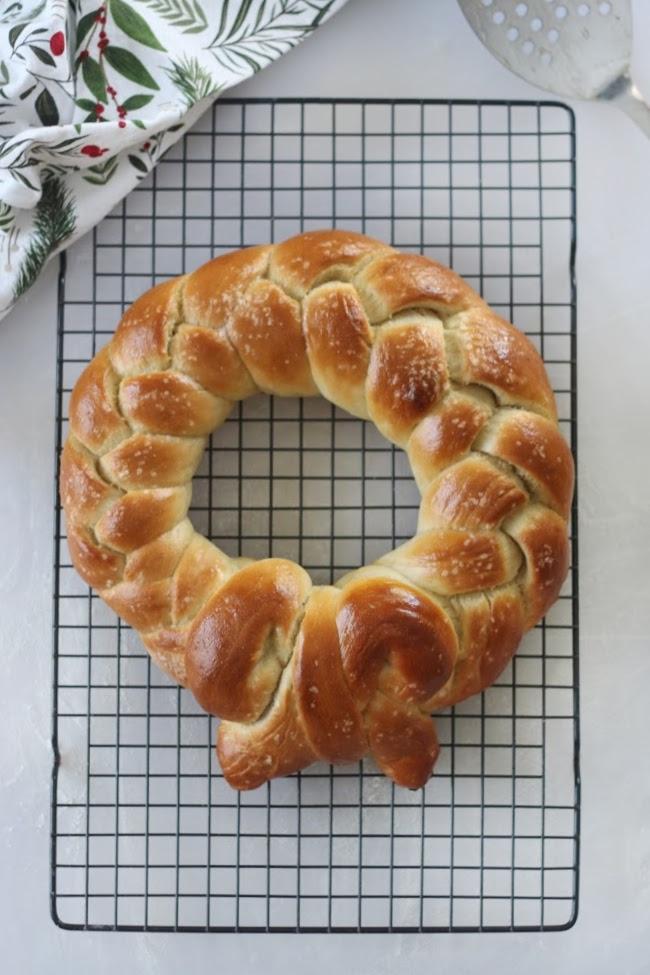 buttered pretzel wreath on baking rack
