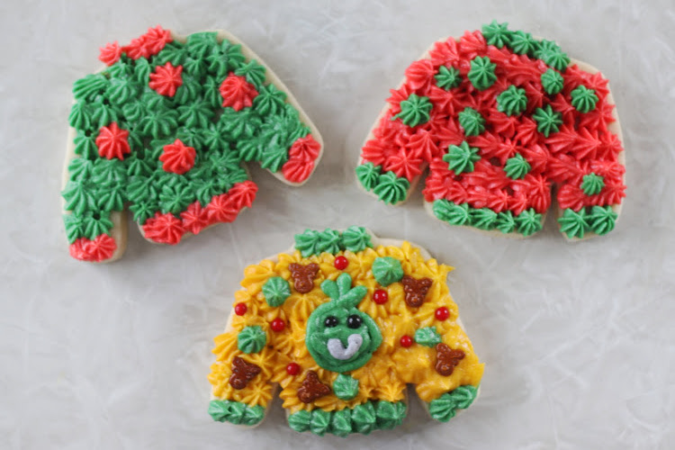 3 ugly sweater sugar cookies