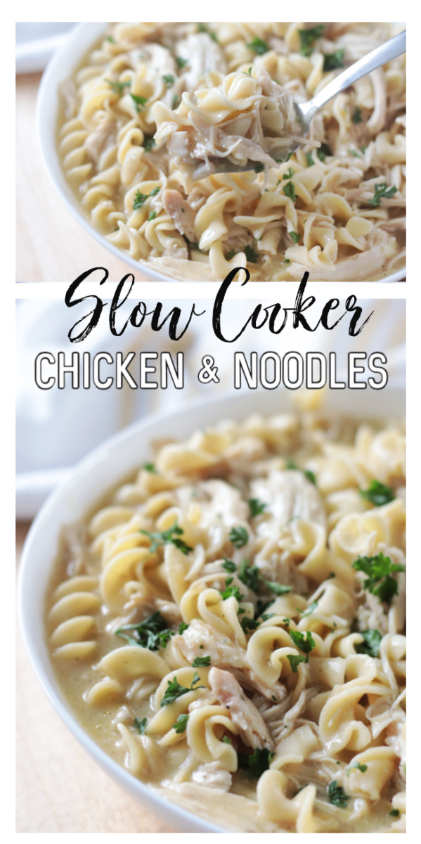 slow cooker noodles in bowl