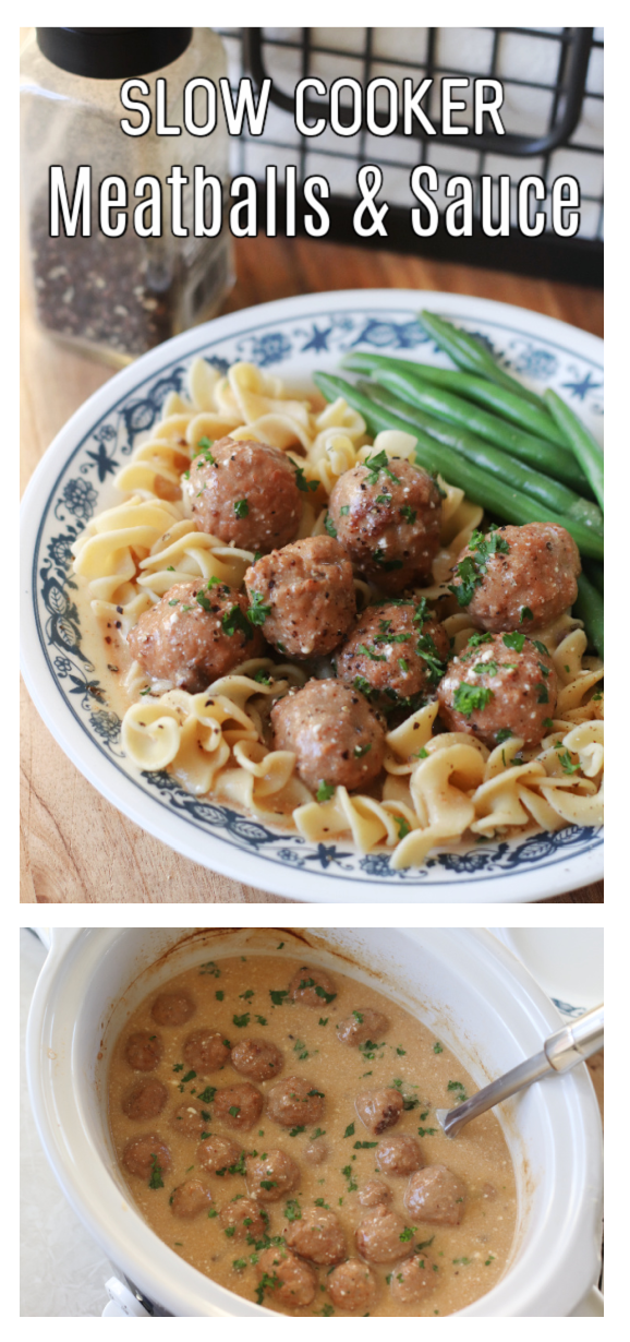 slow cooker meatballs and sauce on plate and in slow cooker