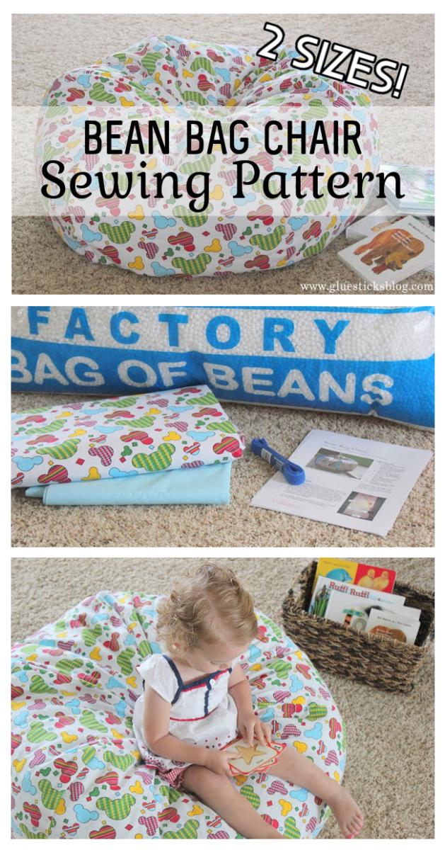 little girl sitting on bean bag chair