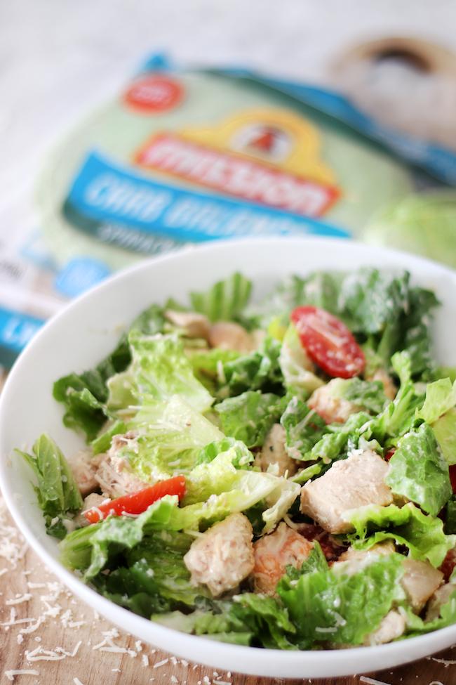 Chicken Caesar salad in bowl