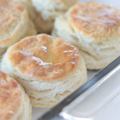 baking dish full of biscuits