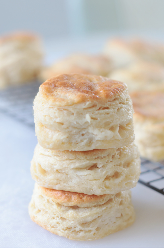 3 biscuits stacked on top of each other