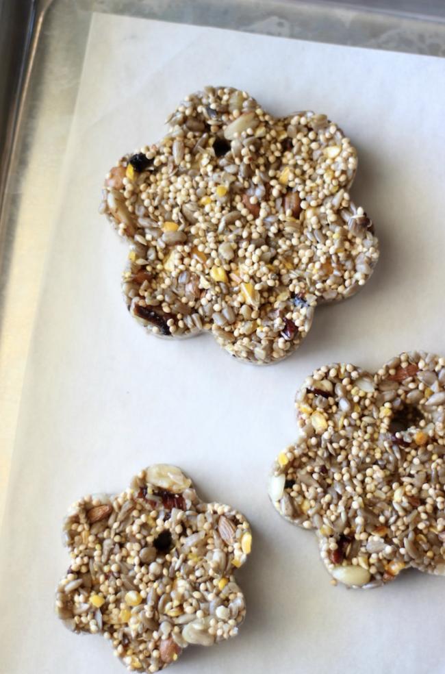 molded birdseed feeders on baking sheet