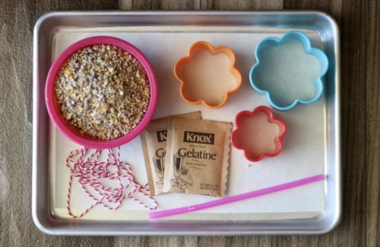 baking sheet with birdseed, cookie cutters, gelatin packets, string and a straw