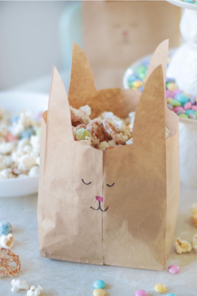 bunny treat sack full of snack mix