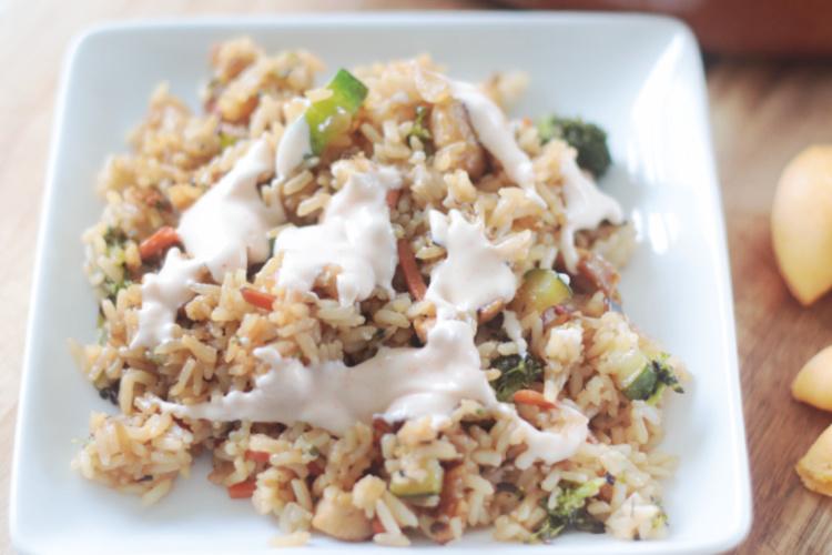 fried rice with yum yum sauce