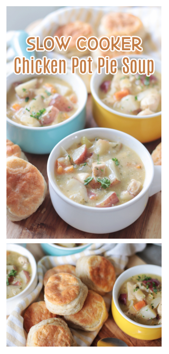bowls of slow cooker chicken pot pie soup